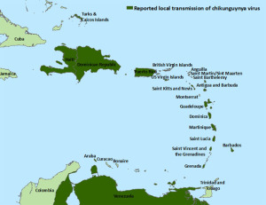 Map of Caribbean where the Chikungunya is located